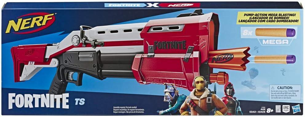 Hasbro Nerf E7065EU4 TS Pump-Action Blaster, 8 Nerf Mega Fortnite Darts, Dartaufbewahrungsfach – Für Jugendliche und Erwachsene, Multicolor