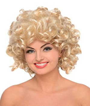High School Blonde Curly Sandy Wig Ladies Fancy Dress 50s Womens Costume Wig 571a330c41