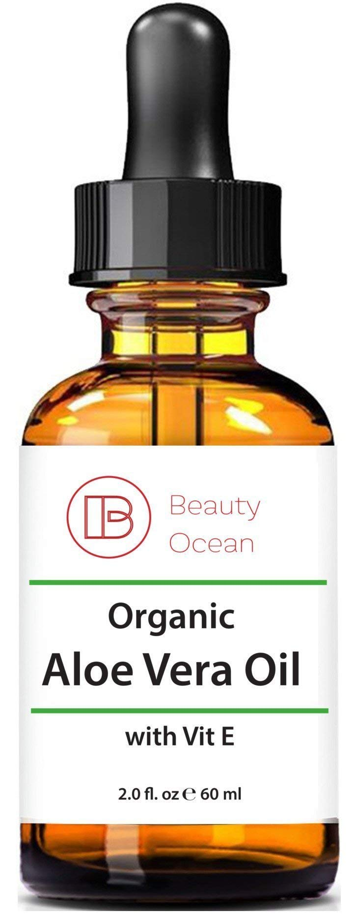 Pure Organic Aloe Vera Oil, 2 oz For Hair, Skin, Face, Body and Sun Burns -100% Organic, Cold Pressed, Natural Oil from Beauty Ocean by Beauty Ocean