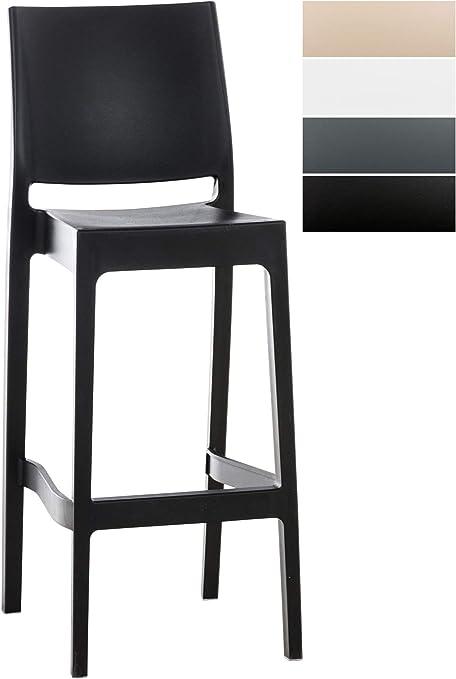 CLP Tabouret de Bar Maya en Plastique Empilable I Chaise de Bar Confortable avec Repose Pied I Chaise Haute de Cuisine avec Dossier I Hauteur Assise