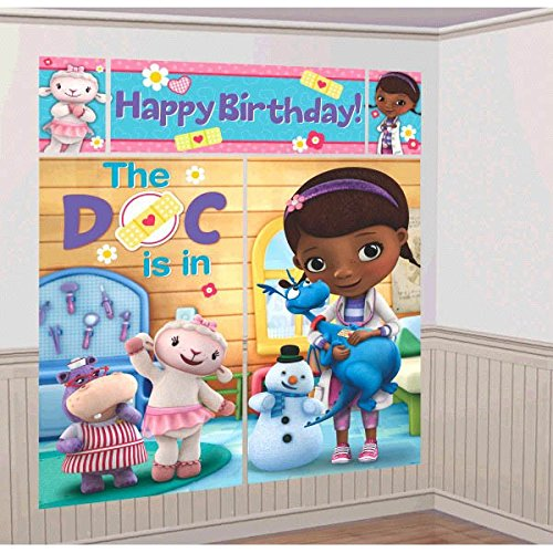 Doc McStuffins Birthday Party Scene Setter Wall Decorating Kit (5 Pack), Multi Color, 59