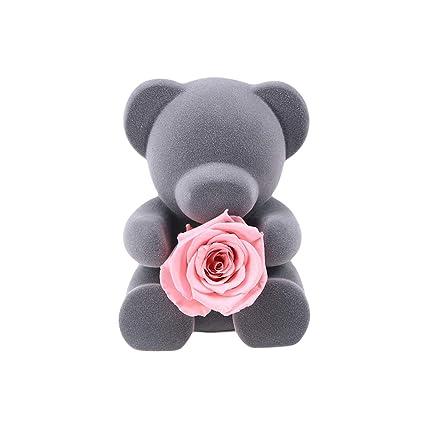 YeahiBaby - Peluche de Oso de Peluche Suave con Rosas eternas para Regalar a bebés y