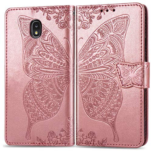 Butterfly Phone Cover - Galaxy J7 2018,J7 Star,J7 Refine Wallet Case, [Butterfly & Flower Embossed] PU Leather Wallet Flip Protective Phone Case Cover with Card Slots and Stand for Samsung Galaxy J7 2018 SM-J737 (Rosegold)