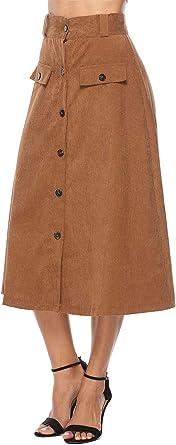 WL Mujeres Falda, Larga A-Line Moda Pana Básica Skirt con Boton ...