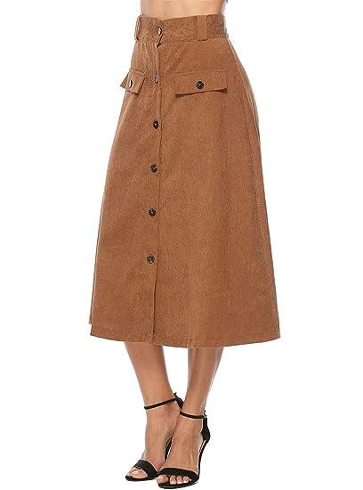 WL Mujeres Falda, Larga A-Line Moda Pana Básica Skirt con Boton de ...