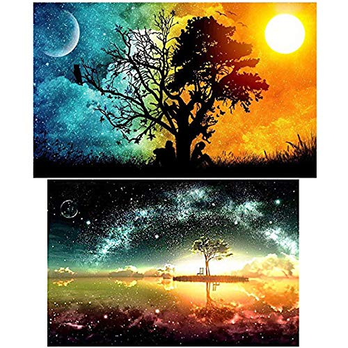 HaiMay 2 Pack 5D DIY Diamond Painting Set Full Drill Rhinestone Embroidery Diamond Paintings Pictures for Home Decoration,Starry Sky (14X20 inch) and Sun & Moon (12X16 inch) by HaiMay