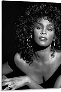 ATOT Whitney Houston Black and White Canvas Art Poster and Wall Art Picture Print Modern Family Bedroom Decor Posters 16x24inch(40x60cm)