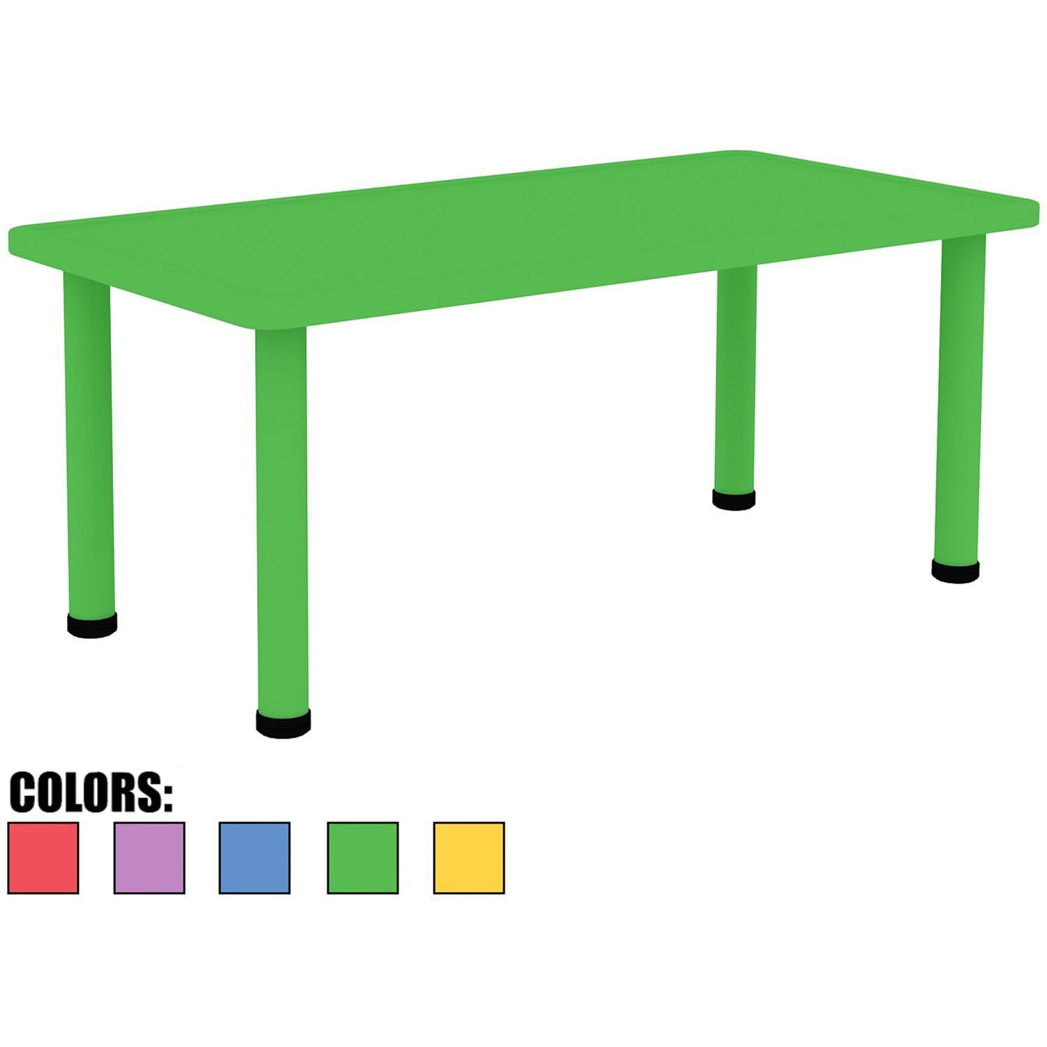 2xhome - Green - Kids Table - Height Adjustable 18.25'' - 19.25'' Rectangle Shape Child Plastic Activity Table Bright Colorful Learn Play School Home Fun Children Furniture Round Safety Corner 24''x48 by 2xhome