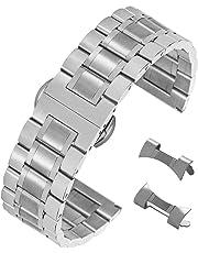 stordimento sostituzione cinturino di vigilanza dell'acciaio inossidabile spazzolato con terminale diritto e curvo