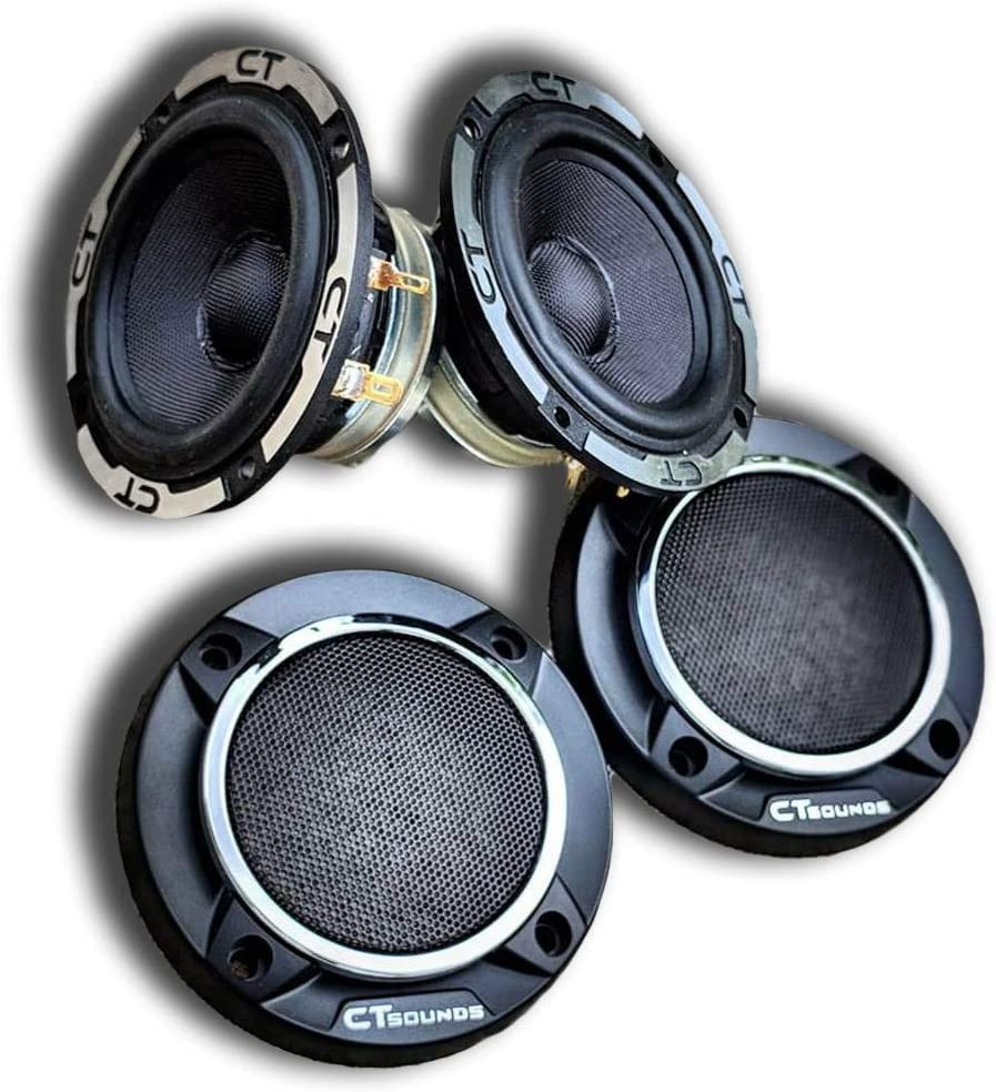 30W Sold in Pairs Power Per Speaker Meso Speakers with Grills Resonant frequency of 65 Hz | 60W RMS CT Sounds 3.5 Inch 3-Way Car Audio Midrange Speakers MAX