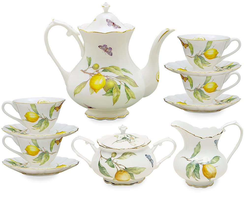 Grace Teaware 11-Piece Porcelain Tea Set Lemon