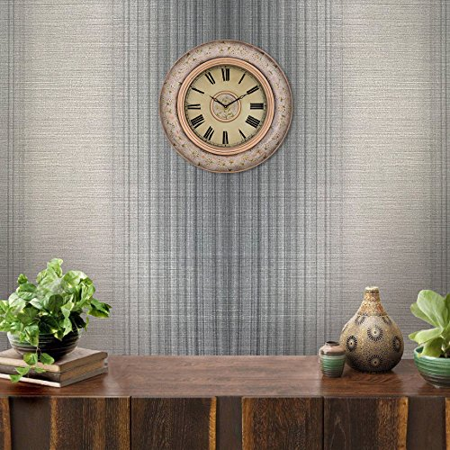 (76 sq.ft Rolls Luxury Portofino Italian wallcoverings Unique Textured Modern Embossed Vinyl Wallpaper Gray Silver Metallic Stria Lines Stripes Striped Design Pattern Textures Plain 3D Wall)