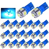 YITAMOTOR 20 X T10 Wedge 5-SMD 5050 Ice Blue LED Light bulbs W5W 2825 158 192 168 194 for Interior Reading Dome Map Cargo Trunk Door Doorstep Courtesy Instrument Panel License Plate Side marker Light