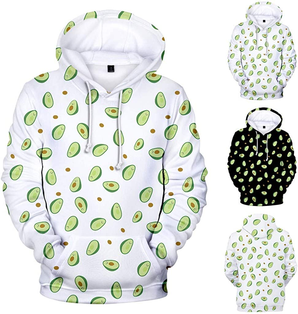 Unisex Novelty Hoodies Casual Loose Tops Blouse 3D Avocado Printed Sweatshirt Long Sleeved Pullover with Pockets