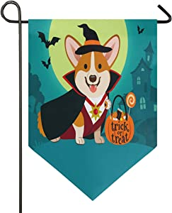 Oarencol Halloween Corgi Dog Witch with Cauldron Candy Garden Flag Trick or Treat Moon Bat Double Sided Home Yard Decor Banner Outdoor 12.5 x 18 Inch