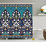 Moroccan Shower Curtain by Ambesonne, Ottoman Folkloric Art Inspired Abstract Aged Middle Age Renaissance Artful Print, Fabric Bathroom Decor Set with Hooks, 70 Inches, Navy Blue