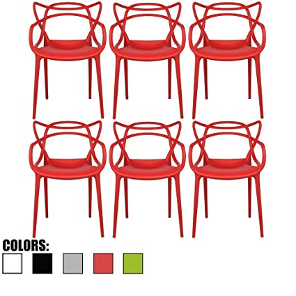 Amazon.com - 2xhome - Set of 6 Red Dining Room Chairs - Modern ...
