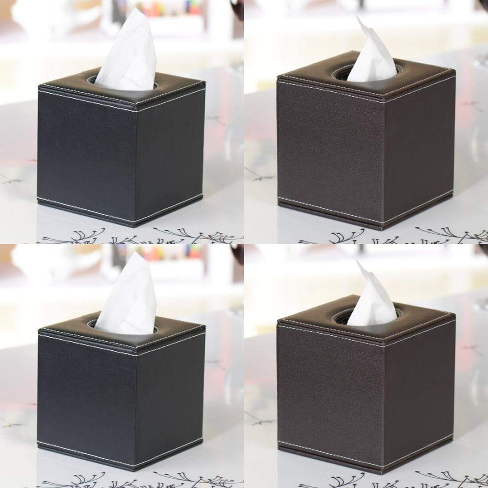 Taschentuchbox Kosmetikt/ücher T/ücherbox Kosmetikbox Kosmetikt/ücher Box f/ür Zuhause B/üro Auto Box Kosmetikt/ücher Taschentuchspender PU Leder Black Cube 13.5x13.5x13.5cm