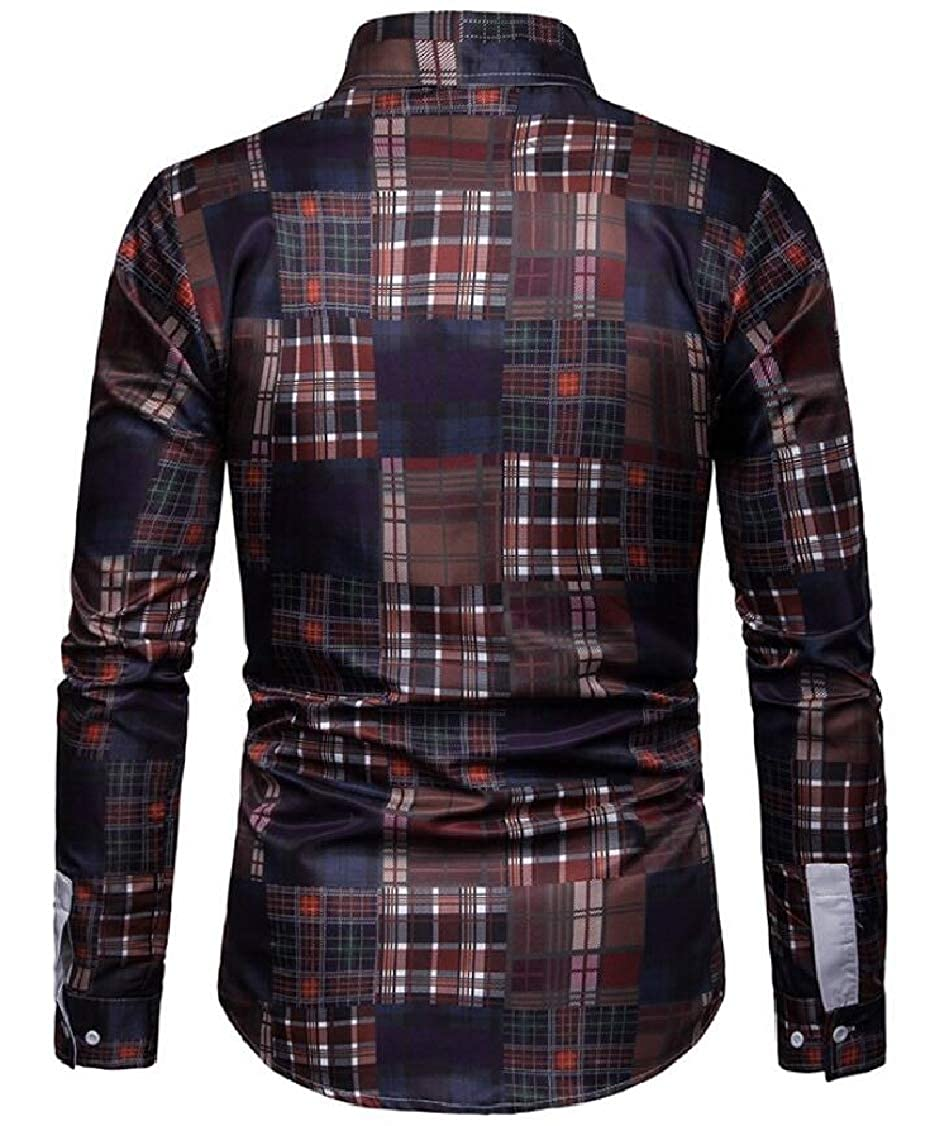 Rrive Men Button Down Checked Business Long Sleeve Classic Dress Shirts