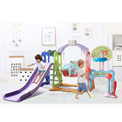 Toddler Climber and Swing Set with Music, Mosunx 6 in 1 Climber Slide Playset w/Basketball Hoop, Swing, Climb Stairs, Football Baseball Combinations (Multicolor, Maximum of 66 Pounds): Arts, Crafts & Sewing