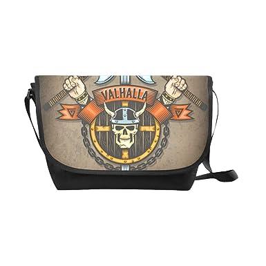 d68e5b4d7190 Amazon.com   Nylon Messenger Bag Viking pirates skull Courier ...