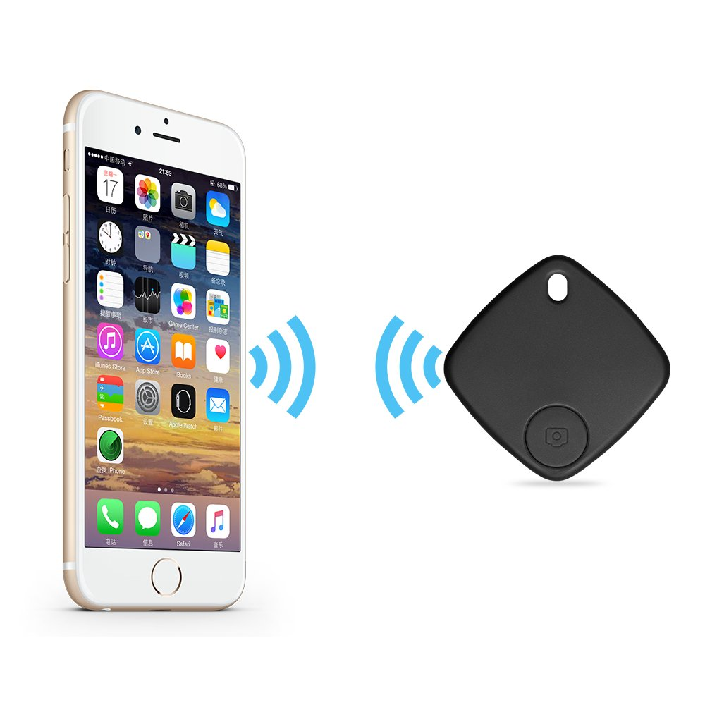 Key Finder Wireless Smart Tracker for Phone, Wallet, Keys Luggage Set Personal Belongings, Support Bluetooth Connection, Remote Control by Illumifun (Black)