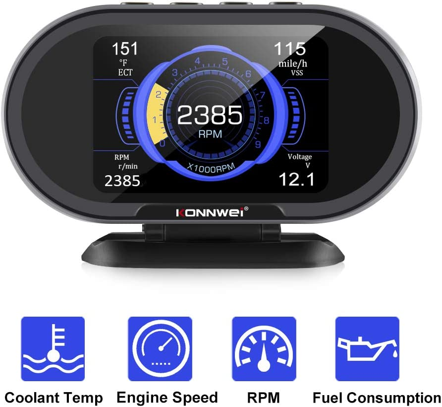 KONNWEI KW206 Car OBD2 HUD Digital Meter Gauge All in One Automotive Trip Computer Smart OBD Speedometer Water Temperature Fuel Pressure Tester for All 1996 and Newer Cars