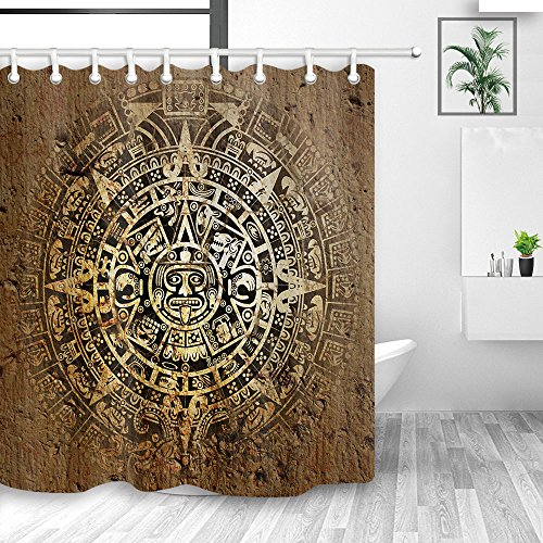 NYMB Ancient Egypt Mandala Wallpaper Shower Curtains, Native Aztec Calendar Mayan Luck Sign in Vintage Decor, Polyester Fabric Waterproof Egyptian Shower Curtain Hooks, Bathroom Accessory - Luck Sign