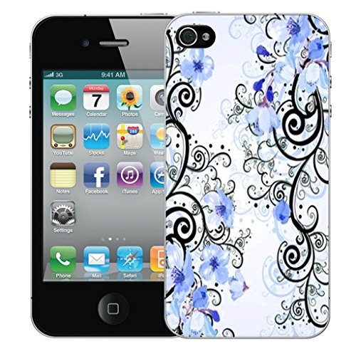 Mobile Case Mate iPhone 4s Silicone Coque couverture case cover Pare-chocs + STYLET - Blue Cluster Flowers pattern (SILICON)