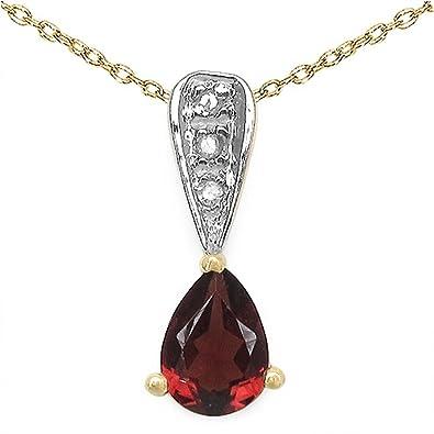Schmuck-Schmidt-Collier Kette mit Diamant Granat-Anhänger 0,87 Karat Silber-vergoldet  10 Karat  Amazon.de  Schmuck a64c3e3585