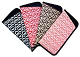 4 Pack Soft Slip In Eyeglass Case For Women, Checkered Hearts, Color Assortment