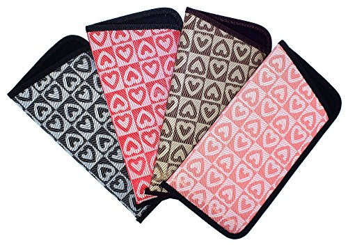 4 Pack Soft Slip In Eyeglass Case For Women, Checkered Hearts, Color Assortment ()