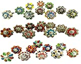 Dotted Mix Color Multi Designed Ceramic Cupboard Cabinet Door Knobs Drawer Pulls & Chrome Hardware - Hand Painted Pulls Set Of 20