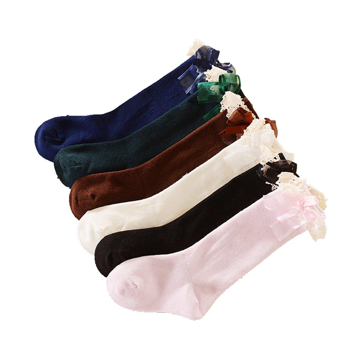Calcetines hasta la rodilla para niña Cordón Calcetines con suela de algodón 6 pares de calcetines Cczmfeas