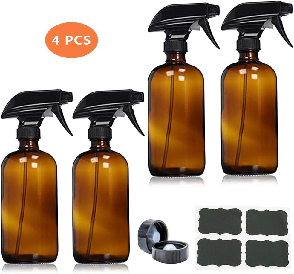 kungfu Mall 4 Botellas de Spray vacías de Vidrio Recargables con pulverizador de gatillo para aceites Esenciales, Limpieza, pulverizador de gatillo Duradero con Chorro de Niebla