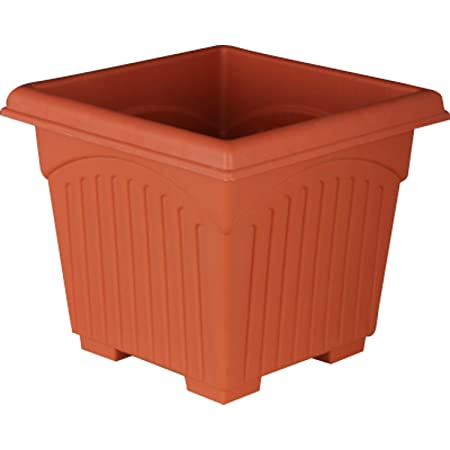 First Smart Deal 10 Inch Plastic Square Planter Pack of 10 - Brown