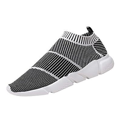 7e53e452a3f08b Chaussures De Sport Homme Ete Running Slip on Légère Mesh Respirant  Antidérapant Confortable Solde Basket Basse
