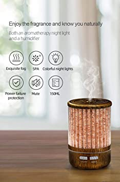 Essential Oil Diffuser Himalayan Salt Lamp Cool Mist Humidifier 3 in 1. 150ml Ultrasonic Aroma Diffusers Humidifier. 7 Colors Changing LED Night