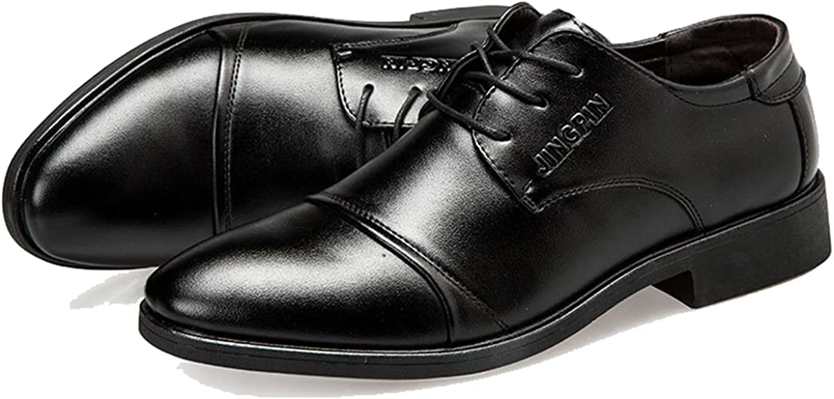 FOXSENSE Oxfords Classic Premium Genuine Leather Pointed Toe Lace up Shoes for Men