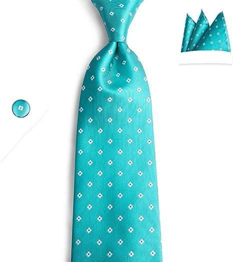 FDHFC Marca Corbata Hombre Corbatas Diseñador Verde Azulado Puntos ...