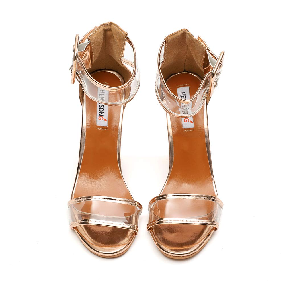 Desirepath Womens Ankle Strap Open Toe Platform High Chunky Heels Party Sandal