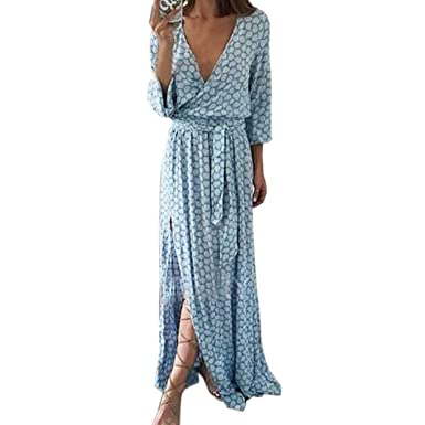 9a2265d8f427 feiXIANG Elegante Kleider Rock langes Ballkleid Loose Maxi Kleid mit Gürtel  Langärmliges Kleid mit V-