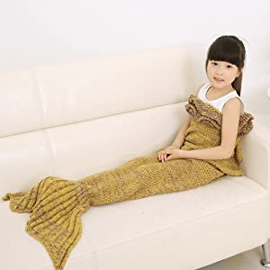 HZF Warm and Soft Kids Knitted Mermaid Blanket Sleeping Bag Sofa Quilt Living Room Falbala Blanket All Seasons