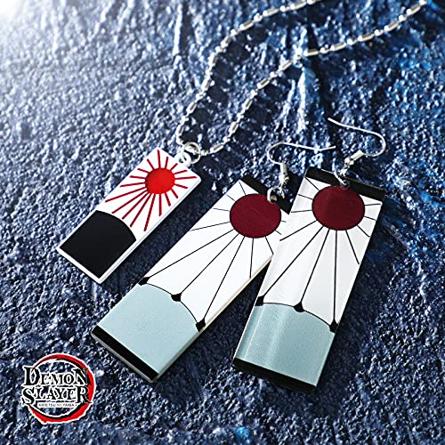 Buleens Demon Slayer Necklace With Tanjiro Earrings Set For Women girls Men Mens Boy Boys Anime kimetsu no yaiba Earring Cosplay Pendant Weird Statement Chain Long Silver Plated Stainless Steel Link Small Cool 2021 (Demon Slayer-1)