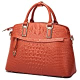 Genuine Leather Handbags for Women Top Handle Handbags Purse and Handbags (Big, Orange)