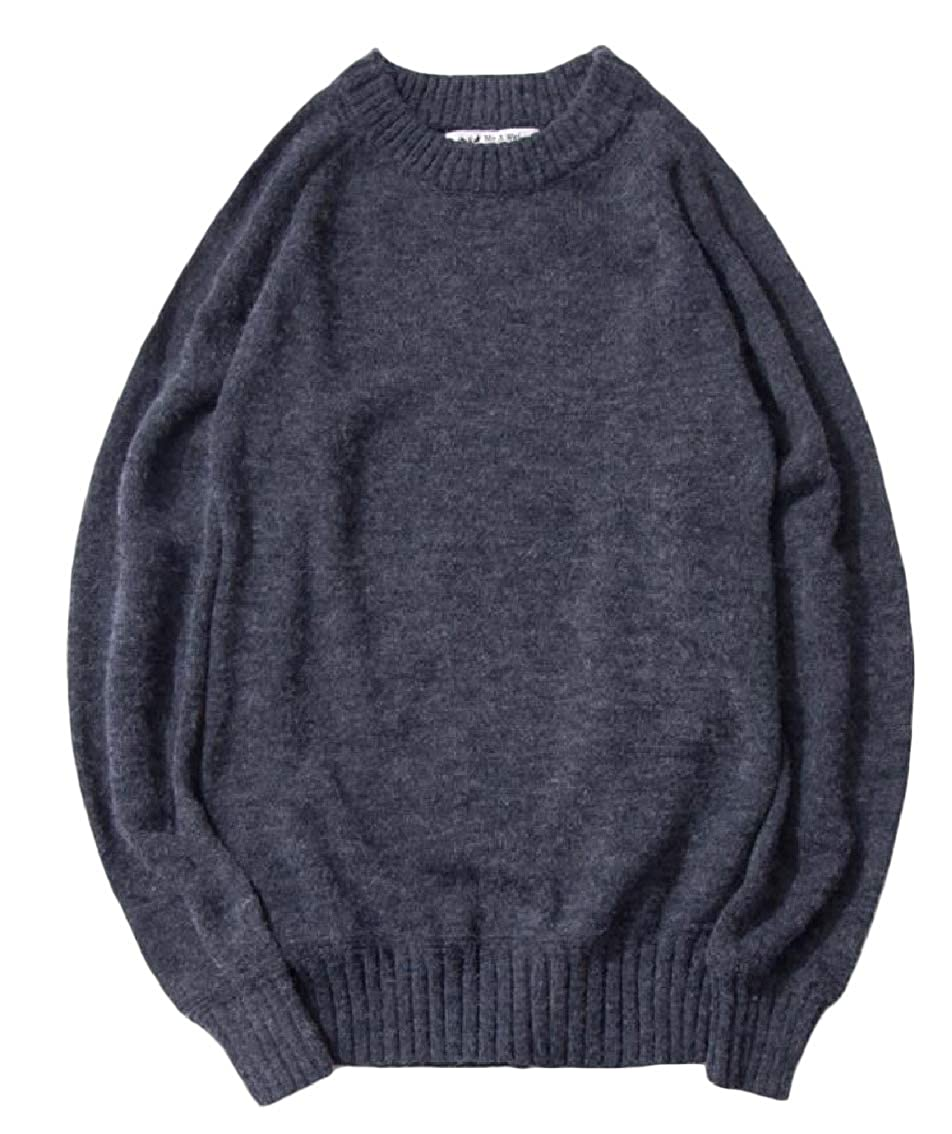 Coolred-Men Long Sleeve Baggy Knitted Vintage Round Neck Leisure Sweater Pullover