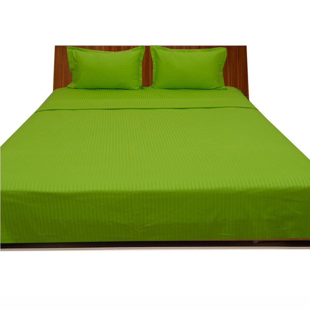 Dreamz Bedding Super Soft-550-thread-count Ägyptische Baumwolle Bed Sheet Set 45,7cm Extra tief Pocket Euro Small Single, Parrot Green Stripe, 550tc 100% Baumwolle Bettwäsche Sets