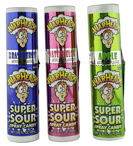 Warheads Super Sour Candy Spray Bottles, Sampler, Bundle, (.68 Oz. Bottles), Blue Raspberry, Apple and Watermelon