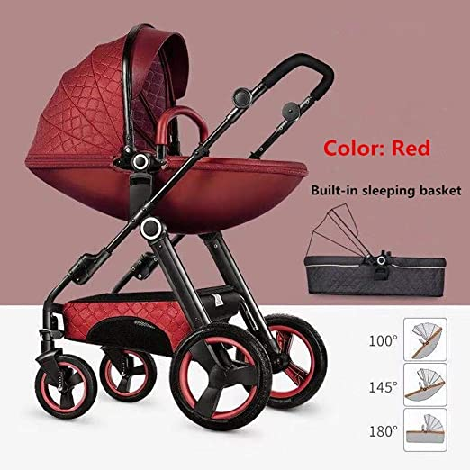 JKL Zwei-Wege-Mode-Kinderwagen 2 in 1 Kinderwagen Kinderwagen Buggy Travel Kinderwagen Farbe : Gray