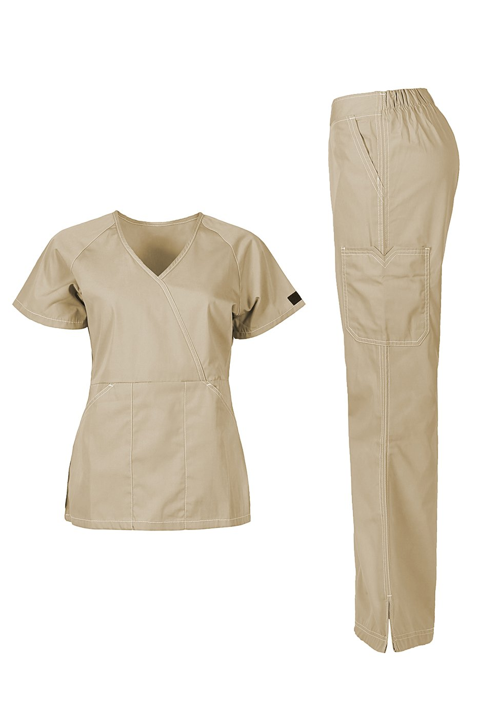MedPro Women's Medical Scrub Set (Top & Bottom) Khaki M (5666)